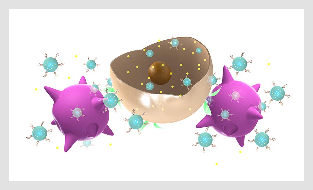Artist's conception of nanoparticle-carrying immune cells that target tumors and release drug-loaded nanoparticles for cancer treatment