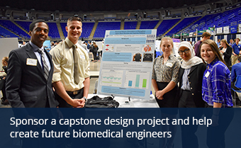 Five students posing with capstone design poster
