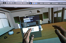 A student engaging in a hands-on activity in the Penn State Virtual Reality Classroom